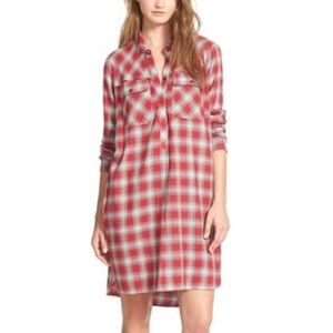 Madewell Red Flannel Oversized Shirt Dress